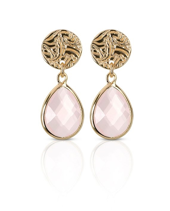 Earrings Gold Mini Shield Drop Rose