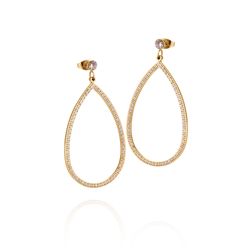 Carrie earring gold/white cz
