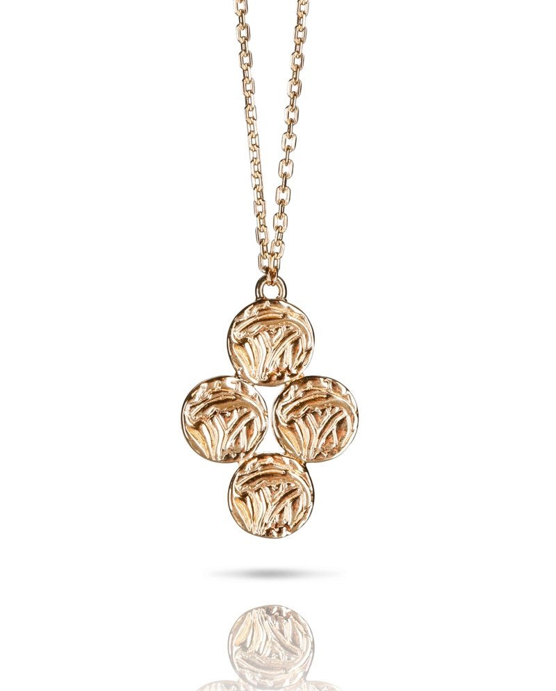 Necklace mini shield clover gold